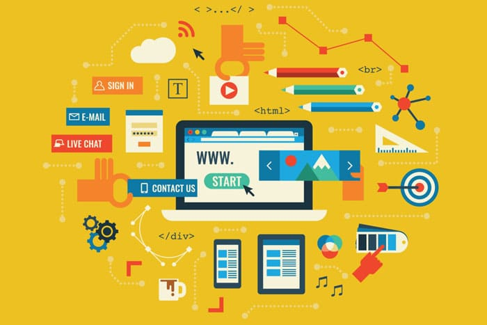 Illustration representing the many components of a good website